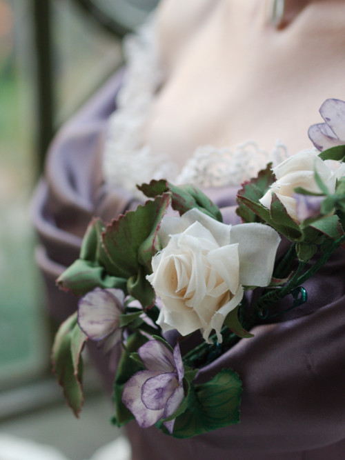 fabric flowers for ballgown